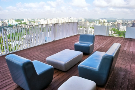 sunbed: Lounge on top of scyscraper in Singapore Stock Photo