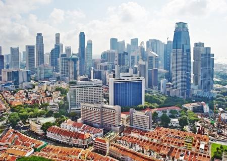 Vista aerea su Chinatown e commerciale di Singapore Archivio Fotografico