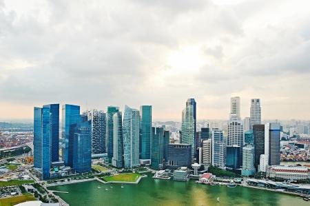 Skyline di Singapore. Vista dal Marina Bay Sands hotel