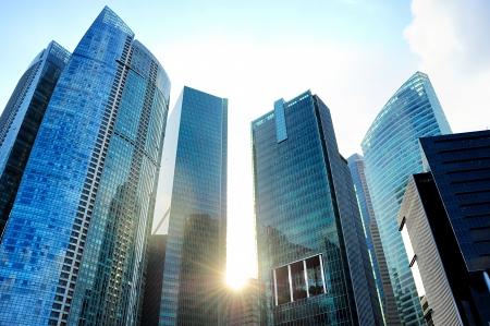 Moderni grattacieli di Singapore al tramonto