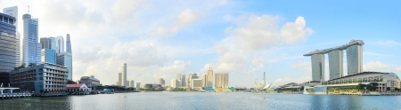 Singapore quayside with Marina Bay Sands in the right Stock Photo
