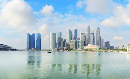 Skyline of Singapore downtown in the  morning Stock Photo