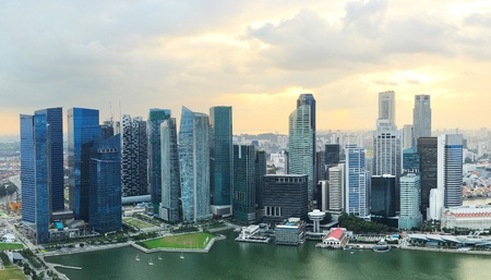Panoramic view of Singapore at a beautiful sunset photo