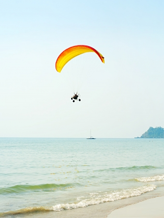 skydive: Paraglider at the tropical beach on Koh Chang island, Thailand