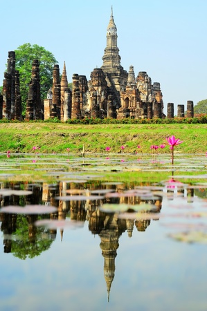 sukhothai: Wat Traphang Thong with reflection in the pond. Sukhothai