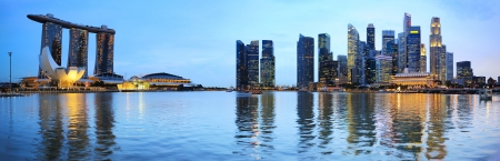 Panoramic view of Singapore at the colorful dusk photo