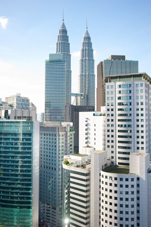 Architecture of Kuala Lumpur with famous Petronas Twin Towers  photo