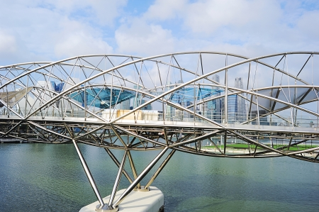 previously: The Helix Bridge , previously known as the Double Helix Bridge , is a pedestrian bridge linking Marina Centre with Marina South in the Marina Bay area in Singapore  Editorial