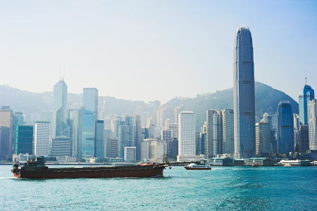 Industrial barge in front of Hong Kong financial district Stock Photo - 20087266