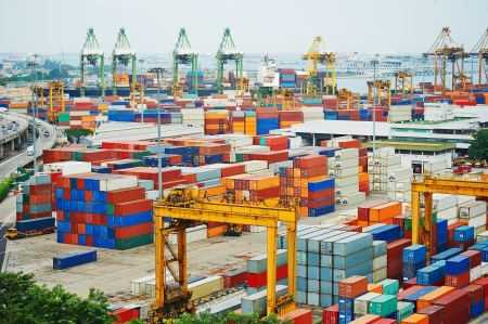 Singapore commercial port . Its the worlds busiest port in terms of total shipping tonnage, it transships a fifth of the world shipping containers