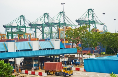 tonnage: Singapore commercial port. Its the worlds busiest port in terms of total shipping tonnage, it transships a fifth of the world shipping containers