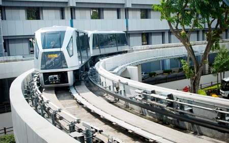 Singapore, Republic of Singapore -  March 05, 2013 : The Changi Airport Skytrain is a people mover system that connects Terminals 1, 2 and 3 at Singapore Changi Airport. Opened in 1990, it was the first auto-guided system in Asia
