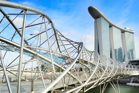 tonnes: Singapore, Republic of Singapore - May 03, 2013: The Helix Bridge and Marina Bay Sands in Singapore. The Helix is fabricated from 650 tonnes of Duplex Stainless Steel and 1000 tonnes of carbon steel.