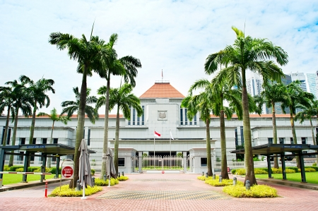 Singapore Parlamento builading davanti a Singapore centro