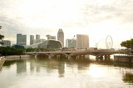 Singapore riverbank  in the morning
