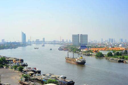 Aerial view of Chao Phraya River in Bangkok, Thailand