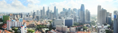 Aerial panoramic view of Singapore in the morning photo