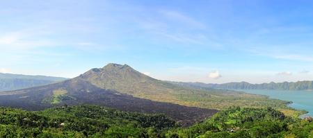 Landscape with  Batur volcano in the sunshine day photo