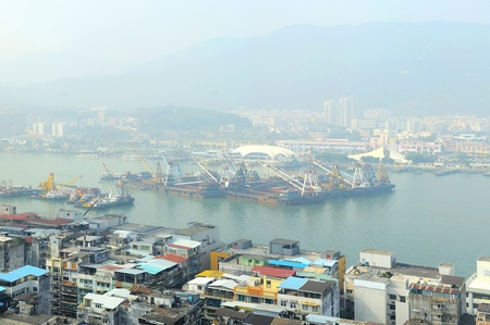macao:  Macao port district in the morning mist Stock Photo