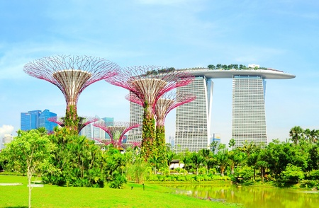Singapore, Republic of Singapore - May 09, 2013: Panoramic view of Gardens by the Bay in Singapore. Gardens by the Bay was crowned World Building of the Year at the World Architecture Festival 2012  Editorial