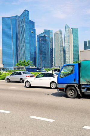 Cars on the road in Singapore  Blured motion
