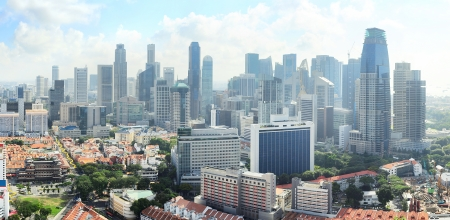 Birds-eye view of sunny Singapore