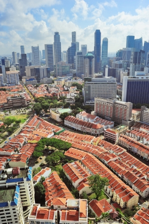 Aerial view of Chinatown and business district of Singapore