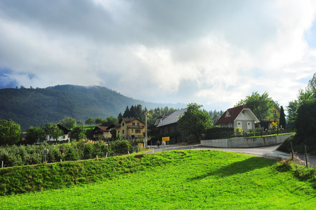 slovenian: Traditional Slovenian village in the mountains
