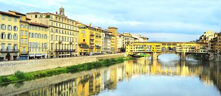 Famous Ponte Vecchio bridge across Arno river in Florence, Italy