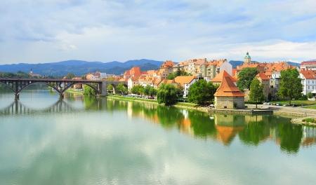 drava: Skyline view of Maribor city, Slovenia Stock Photo