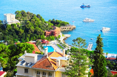 Aerial view of luxury resort and bay, french riviera, France, near Nice and Monaco