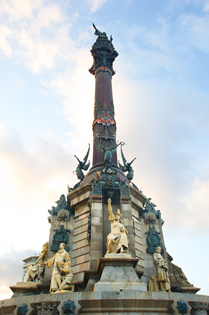 Famous historical monument to Cristopher Columbus in Barcelona is 60 m (197 ft) tall photo