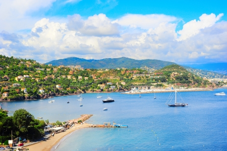 d���azur: Panoramic sea bay view, yachts and boats  French Riviera, Azure Coast or Cote d Azur, Provence, France