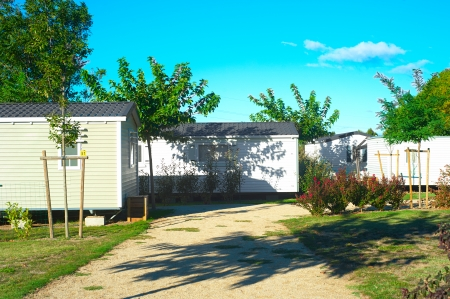 Camping site with  identical mobil homes photo