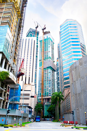 Construction site of a modern buildings in Singapore