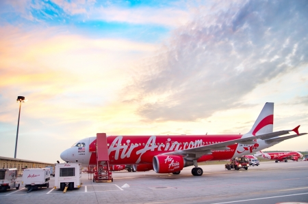 Kuala Lumpur, Malaysia - May 14, 2013  AirAsia Jet airplane in Kuala Lumpur airport in Kuala Lumpur  Its been named as world Editorial