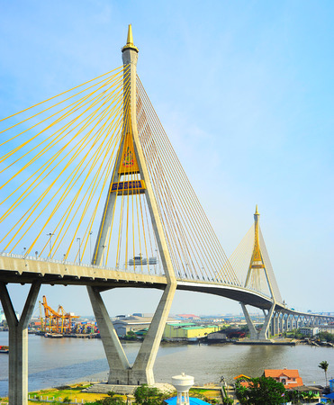 The Bhumibol Bridge also known as the Industrial Ring Road Bridge is part of the 13 km long Industrial Ring Road connecting southern Bangkok with Samut Prakan Province  photo