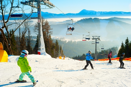 carpathian mountains: Ski track with chair lift, Bukovel resort, Carpathian mountains, Ukraine