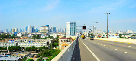 Panoramic view of Bangkok with highway. Thailand photo