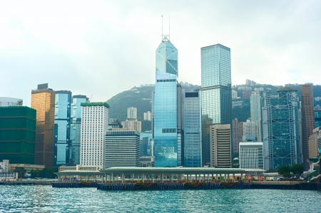 View on Hong Kong business center and harbor from the sea Stock Photo