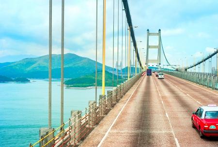 Famous Tsing Ma bridge in Hong Kong