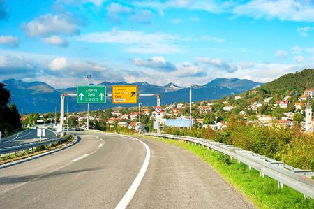 express lane: New Croatian highway leads to Zagreb, Croatia Stock Photo