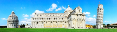 Piazza dei Miracoli complex with the leaning tower of Pisa , Italy