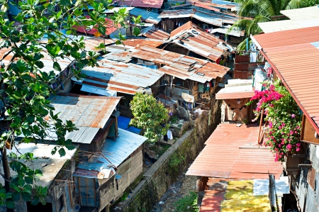 squatter: Aerial view on slums at night in Cebu city, Philippines