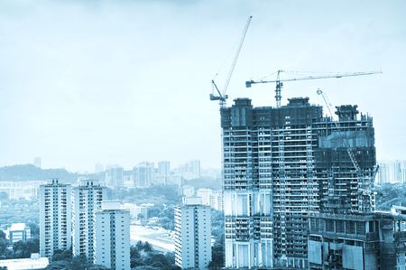 Construction site of a modern skyscraper in Singapore