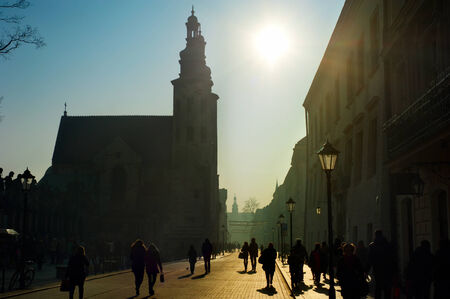andrews: Crowded street and St. Andrews Church in the sunshine day, Kraków Stock Photo