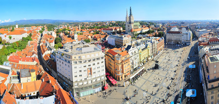 Panoramicc top view on Zagreb, Croatia