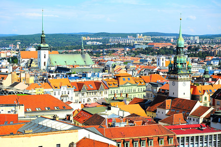 Skyline of Brno city in the sunny day, Czech Republic