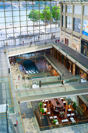 SINGAPORE - MAY 09, 2013: Shopping mall at Marina Bay Sands Resort in Singapore. It is billed as the worlds most expensive standalone casino property at S$8 billion