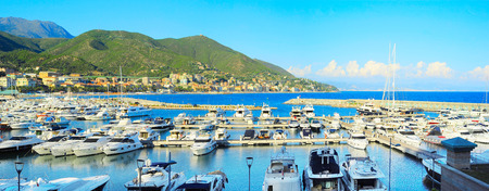 azur: Beautiful panoramic view on boats moored in harbor Cote d Azur
